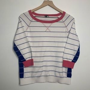 Talbots Striped 3/4 Sleeve Crew Neck Top Pink Blue